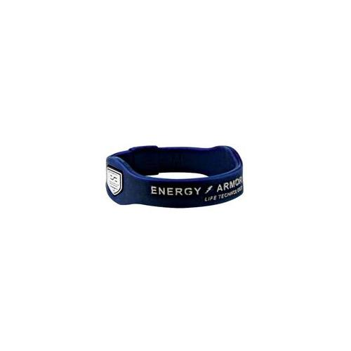 Energy Armor 7-3621172816-6 Medium Navy Blue Negative Ion Super Band Bracelet with Silver Letters