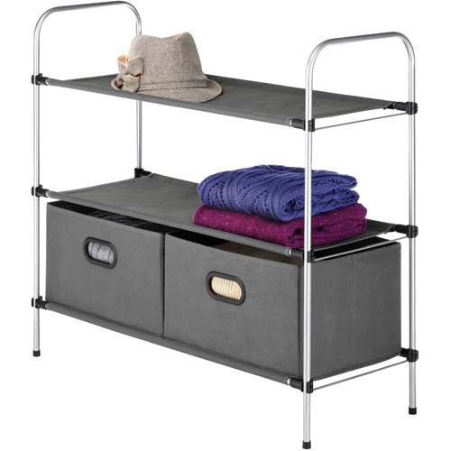 Whitmor 3-Tier Shelves with 2 Collapsible Drawers, Gray