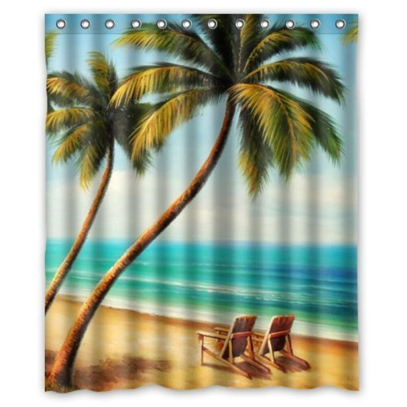 "60"" x 72"" Beach Chairs Waterproof Bathroom Fabric Shower Curtain,Bathroom decor"