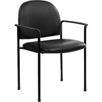 (Set of 13) Comfortable Stackable Steel Side Chair With Arms, Black