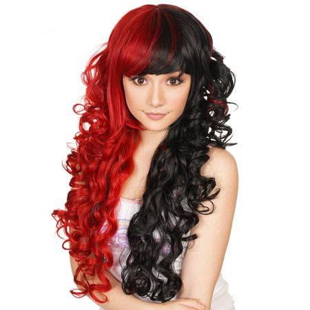 Rockstar Wigs Red And Black Harley Quinn Cosplay Wig
