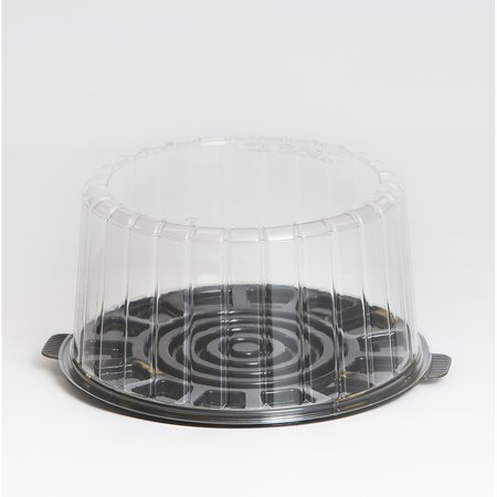 Inline Plastics EZ Open Clear, Double Layer 9 Inch Cake Container with Dome Lid | 50/Case - Cake Box