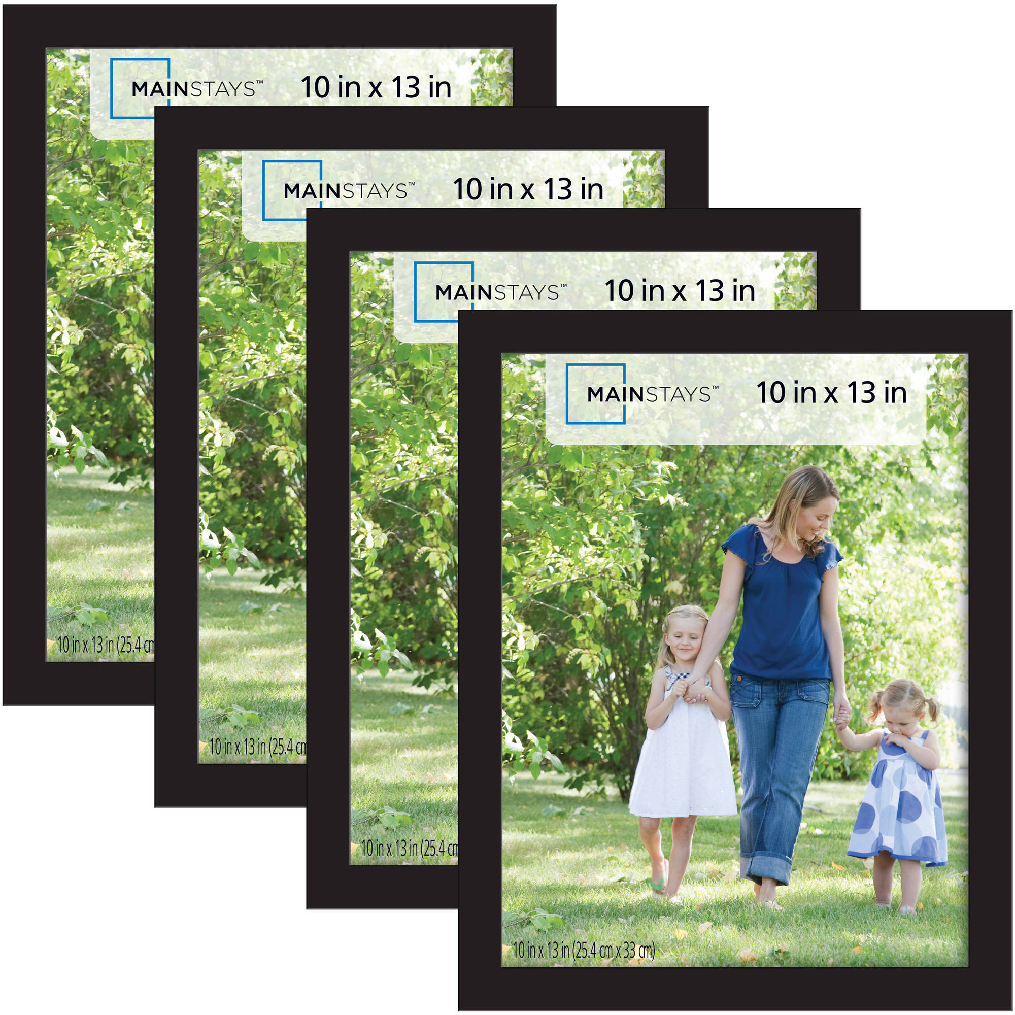Mainstays 10x13 Picture Frames Black 4 Pack Walmartcom