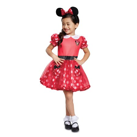 Girls Red Minnie Mouse Dress Halloween Costume