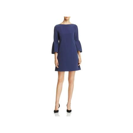 Lafayette 148 New York Womens Marisa Bell Sleeves Shift Casual Dress Navy 16
