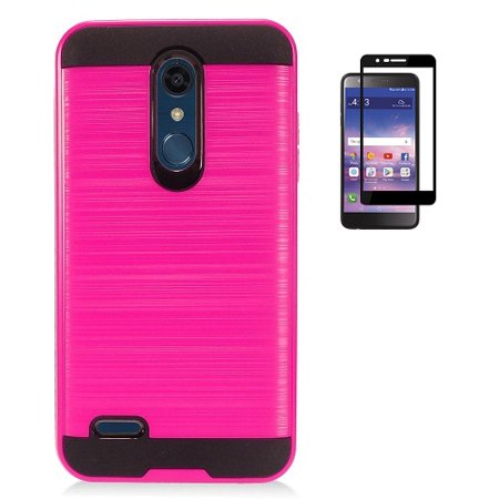 reputable site 04c28 295e4 Phone Case for LG Phoenix Plus (AT&T), LG K30 (T-Mobile), LG Premier Pro 4G  LTE, LG Harmony 2 (Cricket), Metallic Brush Finish Cover Case + Tempered ...