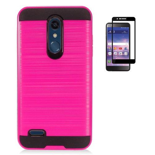 reputable site fabf8 bac2d Phone Case for LG Phoenix Plus (AT&T), LG K30 (T-Mobile), LG Premier Pro 4G  LTE, LG Harmony 2 (Cricket), Metallic Brush Finish Cover Case + Tempered ...