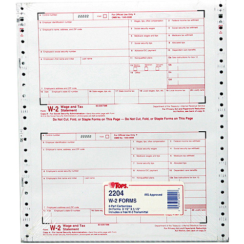 TOPS W-2 Tax Form, 4-Part Carbonless, 24 Forms
