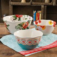 The Pioneer Woman Flea Market 3-Piece Scalloped Edge Serving Bowl Set