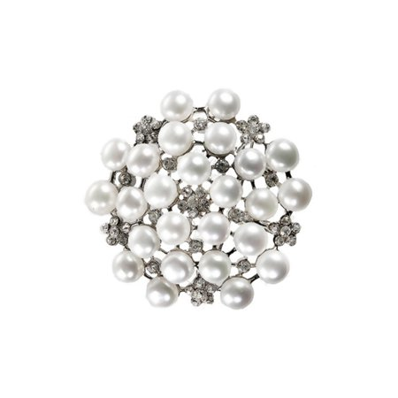 TARA ISLAND COLLECTION Diamond Encrusted White Pearl Brooch