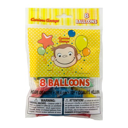 Latex Curious George Balloons, 12 in, 8ct (Curious George Party Decorations)