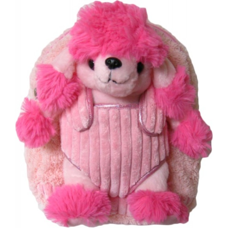 Kids Pink Poodle Puppy Animal Plush Toddlers Backpack