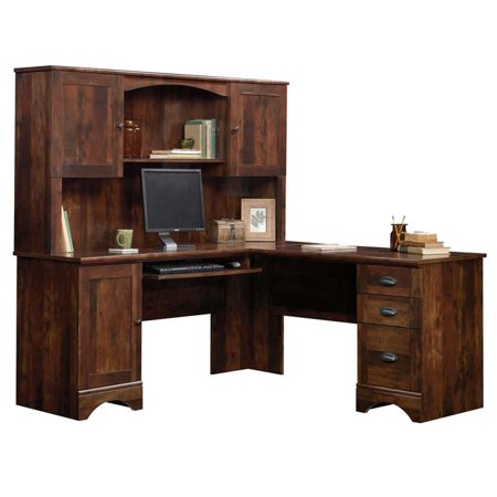 Sauder Harbor View Corner Computer Desk with Hutch in Curado Cherry
