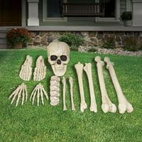 Way to Celebrate Halloween White Bag of Bones Decoration, Set of 12
