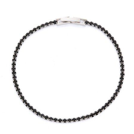 X & O Rhodium Plated Crystal Single Row Bracelet in Jet