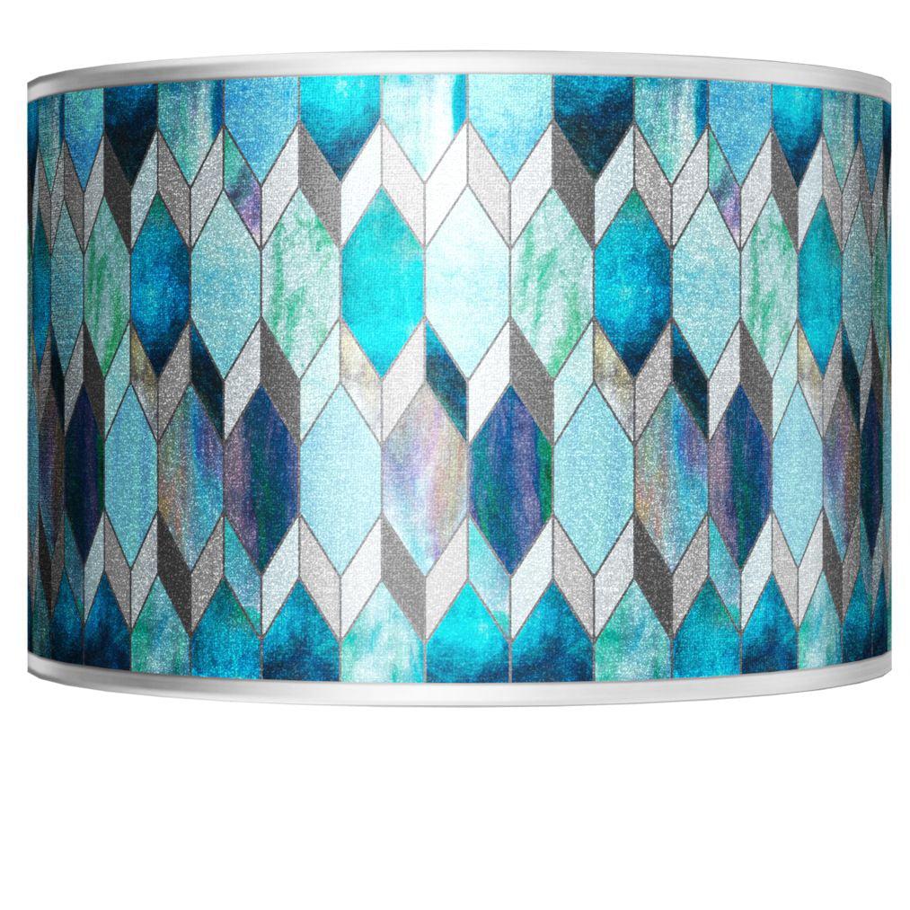 Giclee Glow Blue Tiffany-Style Silver Metallic Shade 12X12x8.5 (Spider)