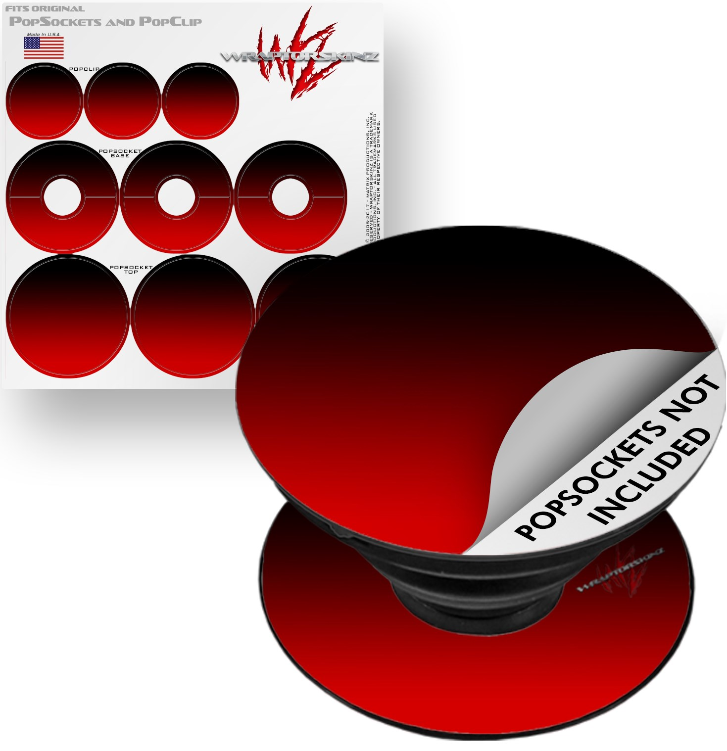 Decal Style Vinyl Skin Wrap 3 Pack for PopSockets Smooth Fades Red Black (POPSOCKET NOT INCLUDED) by WraptorSkinz