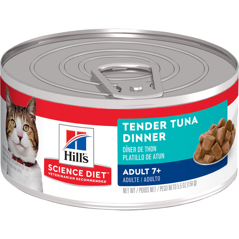 Hill's Science Diet (Spend $20, Get $5) Adult 7+ Tender Tuna Dinner Wet Cat Food, 5.5 oz, 24-pack (See description for rebate details)