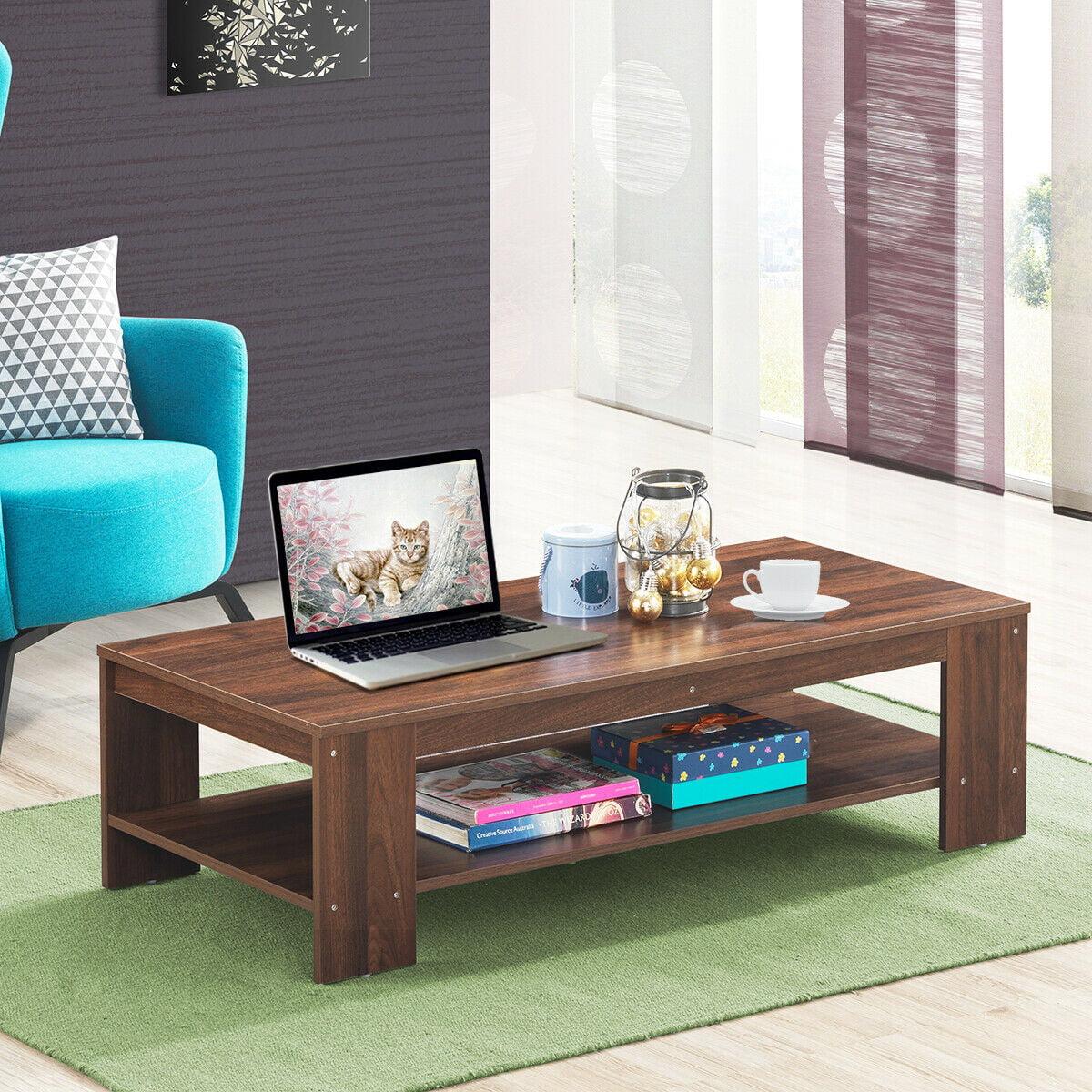 "gymax 47"" rectangular coffee table w storage shelf living"