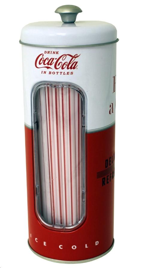 Straw Holder Coca Cola Coke 2017 w 50 straws Metal Tin tin771587 by The Tin Box