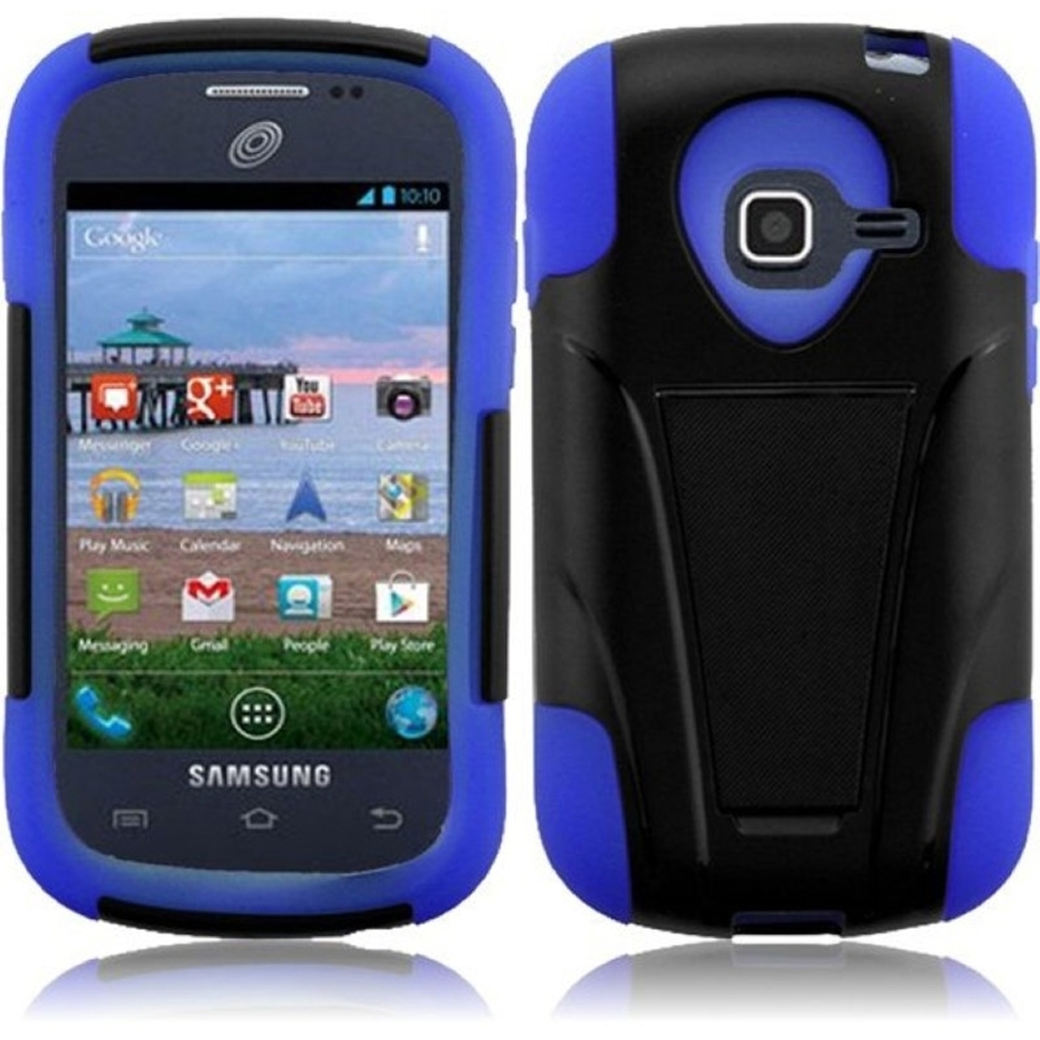 Insten For Samsung Galaxy Centura S738C S730G Discover Hybrid Hard Case w/ Stand - Black +Dark Blue