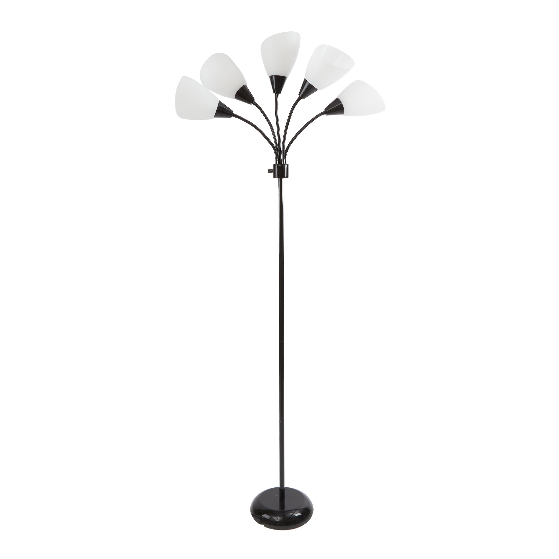Picture of: Mainstays 5 Light Floor Lamp Black With White Shade Walmart Com Walmart Com