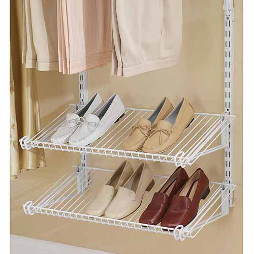 Rubbermaid Home Prod Dorfile FG3H9403WHT Configurations Closet Shoe Shelves, Titanium