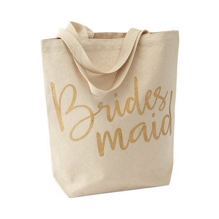 - Wedding Canvas Tote Bag, Bridesmaid, Printed gold glitter bridesmaid By Mud Pie