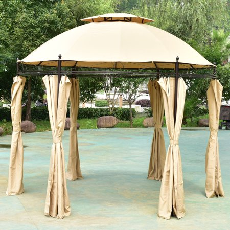 Costway 10ft Round Outdoor Gazebo Canopy Shelter Awning Tent Patio Garden