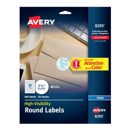 Avery High-Visibility 1.5 Round Labels, Personalize Your Pop Socket Phone Holder, 400 Pack (8293)