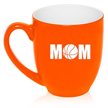 16 oz Large Bistro Mug Ceramic Coffee Tea Glass Cup Mom Basketball (Orange) Basket Large Mug