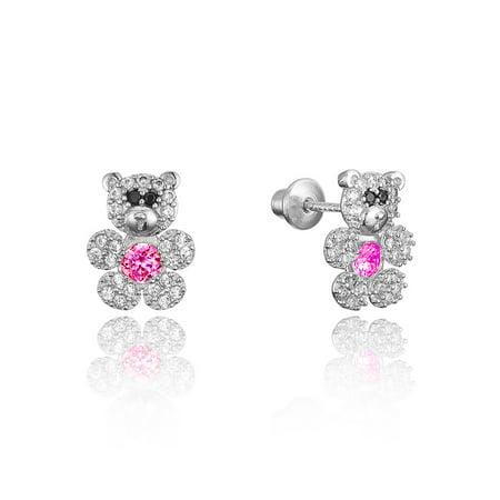 Silver Plated Teddy - Sterling Silver Rhodium Plated Teddy Bear Cubic Zirconia Screwback Baby Girls Earrings