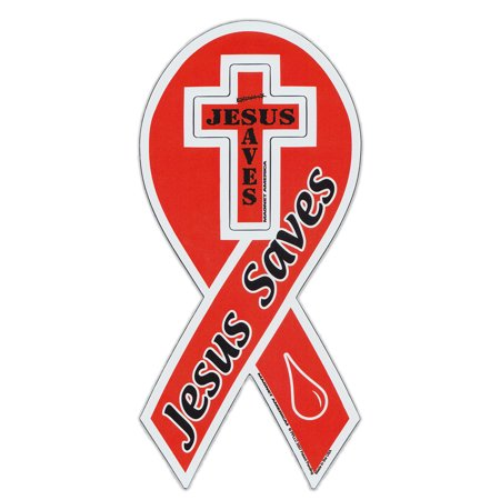 Magnetic Bumper Sticker - Jesus Saves - Ribbon Shaped Religious Magnet - 4