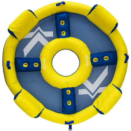 SwimWays Kelsyus Big Nauti Elite 4 Person Inflatable Float Raft, Yellow and Blue - image 4 of 4