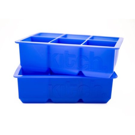 Large Cube Silicone Ice Tray, 2 Pack by Kitch, Giant 2 Inch Ice Cubes Keep Your Drink Cooled for Hours - Cobalt Blue ()