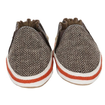 Robeez Newborn Baby Shoes for Baby Boys Cool Shane Slip-On Sneakers / Canvas Sneakers Soft Sole Crib Shoes 0-6 Months - Infant Pre-Walker Cloth Gym Shoes / Athletic Shoes with Suede Bottoms