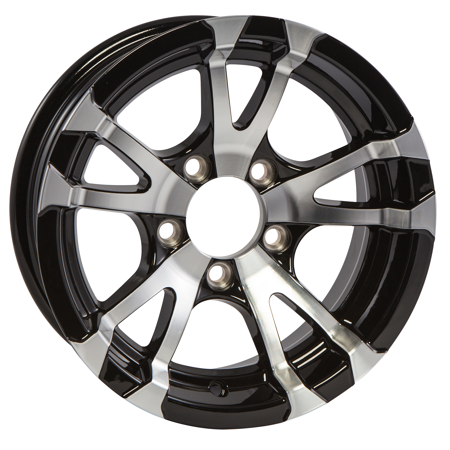 Boat Wheel - Aluminum Boat Camper Trailer Rim Wheel 5 Lug 14 in. Avalanche V-Spoke/Black