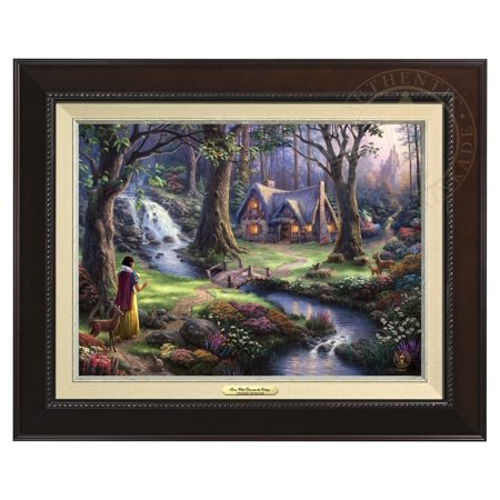Thomas Kinkade Snow White Discovers the Cottage - Canvas Classic (Espresso Frame)