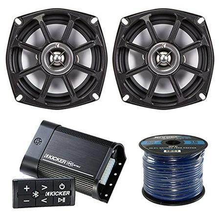 Marine Amp And Speaker Package: Kicker PXIBT502 Bluetooth Waterproof Marine Boat Stereo 2 Channel Amplifier Bundle Combo With 2x Kicker PS52504 5.25