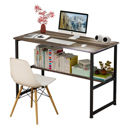 - DL furniture - Wood & Steel Table Simple Plain Laptop Desk Computer Desk Table Personal Working Space With 4 Steel Legs Stand Desk for Livingroom Bedroom & Office - Dark Wood Tone