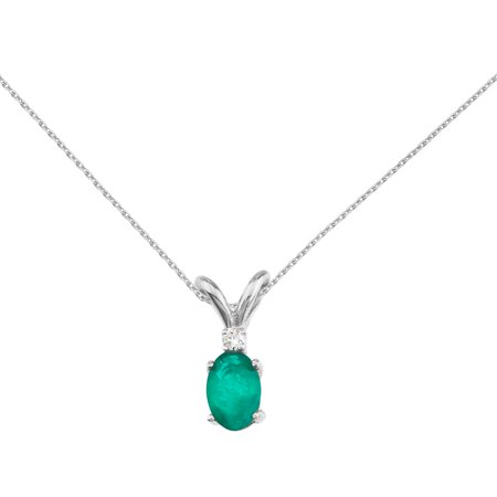 "14k White Gold Emerald and Diamond Oval Pendant with 18"" Chain"