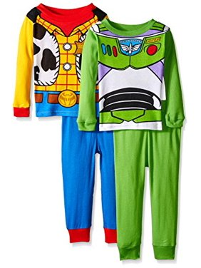 Disney Toddler Boys Toy Story Woody & Buzz Uniform 4-piece Cotton Pajama Set, Green/Blue, 4T