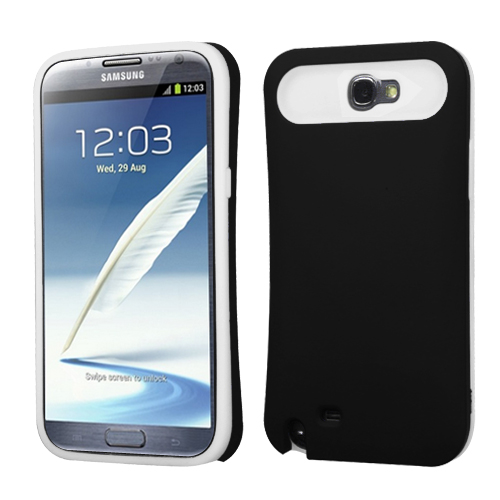 For Galaxy Note 2 Rubberized Black/White Card Wallet Back Protector Cover