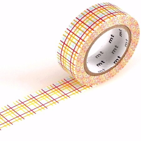 mt Patterns Washi Paper Masking Tape [genuine MT Kamoi Kakoshi / produced in Japan]: 3/5 in. x 33 ft. (Koushi Grid Red)