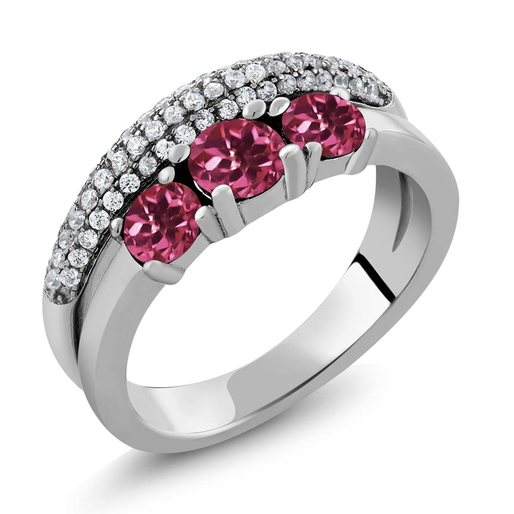1.69 Ct Round Pink Tourmaline 925 Sterling Silver Ring by