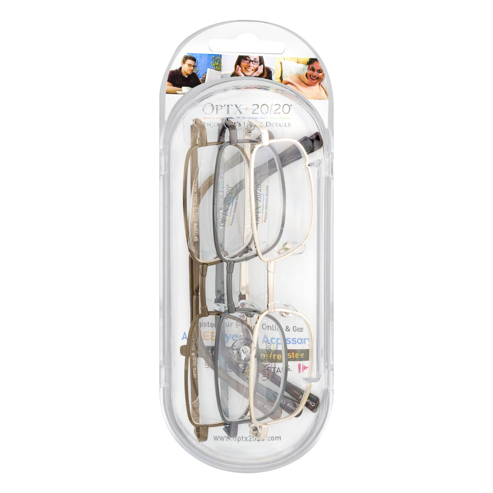 Optx 20/20 Reading Glasses +350 - 3 PK, 3.0 CT