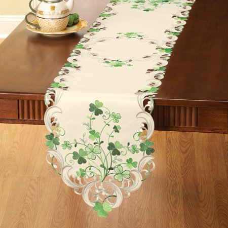 Embroidered Irish Shamrocks Table Linens on Cream Background - Perfect for St. Patrick's Day, -