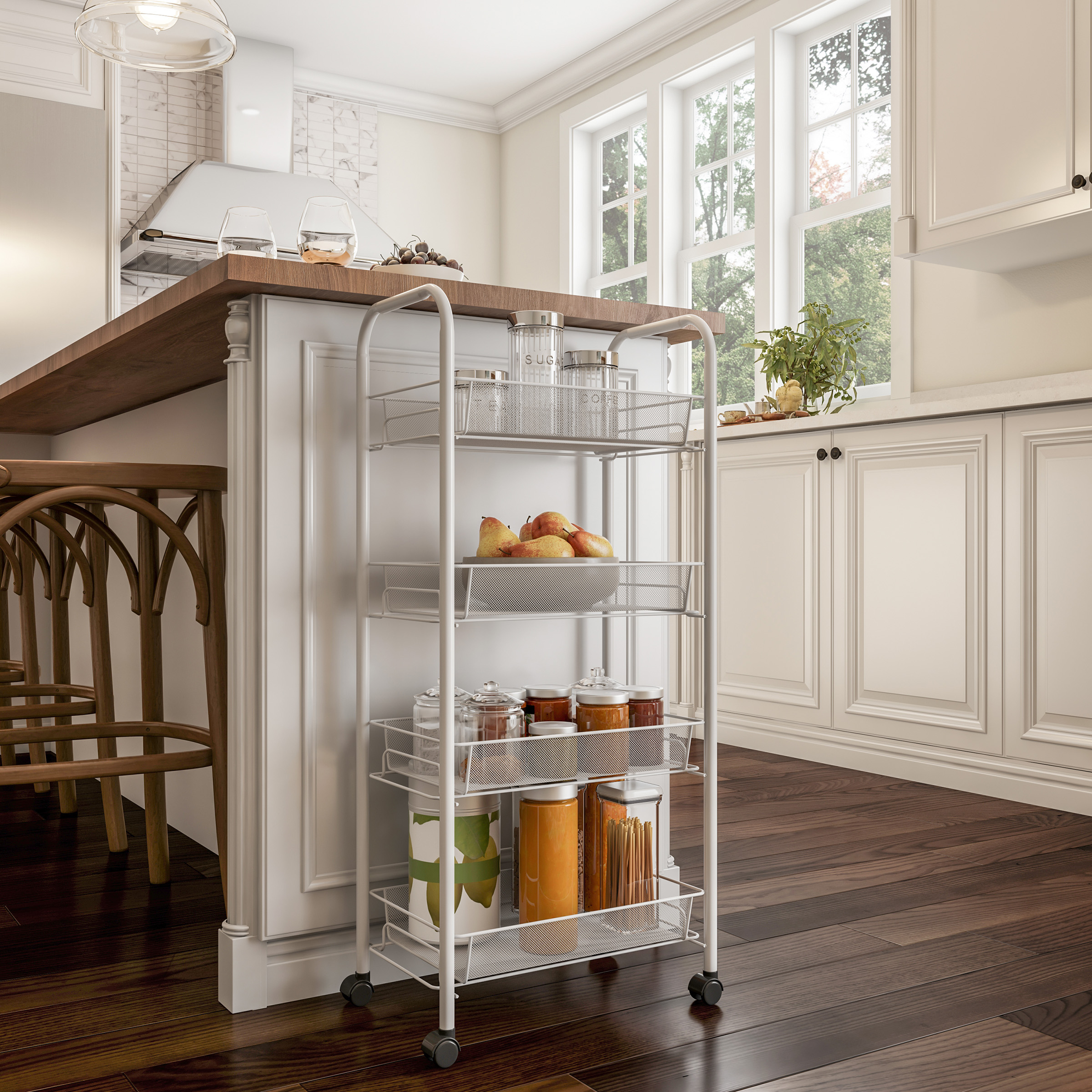 4-Tiered Narrow Rolling Storage Shelves - Mobile Space Saving Utility Organizer Cart for Kitchen, Bathroom, Laundry, Garage or Office by Lavish Home