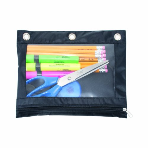 Advantus Zippered Binder Pencil Pouch with Rivet Enforced 1-Pack Black//Clear