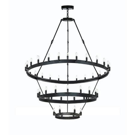 Castille 3 Lights - Vintage Barn Metal Castile Three Tier Chandelier Industrial Loft Rustic Lighting W 38 H 65